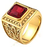 Gnzoe Men Stainless Steel Ring for Boy Father Class Ring Dragon Pattern Engraved Square CZ Red Size 7