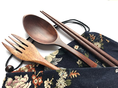 Spoons Wash Wooden (Japanese Natural Travel Utensils Wooden Tableware - Reusable Chopsticks Forks Spoons Knives Set - Wood Flatware 4 Piece Set in Beautiful Black (Wooden Tableware D))