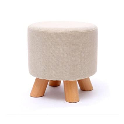 SUN Shoe Stool Sofa Stool Low Stool Wood Cloth Surface Round Home Living  Room (Color