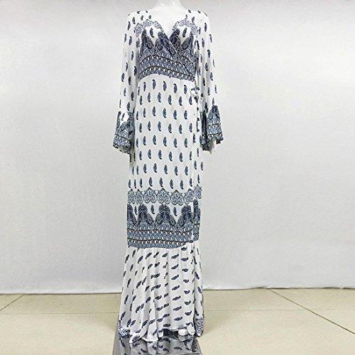 QIYUN.Z Las Mujeres De Cuello En V Imperio Bohemio Cintura Playa Sundress Maxi Vestido Abrigo Cubrir Hasta Blanco Azul