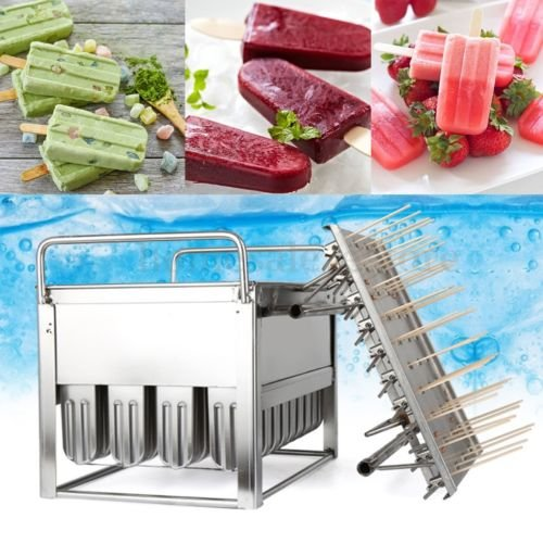40pieces Stainless Steel Ice Cream Molds ice pop molds with stick holder Food Class 6 different size for you to select