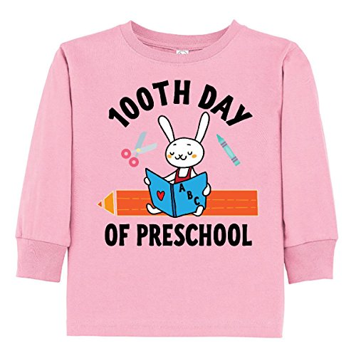 inktastic 100th Day Of School Toddler Long Sleeve T-Shirt 4T Pink (School Toddler Tee)