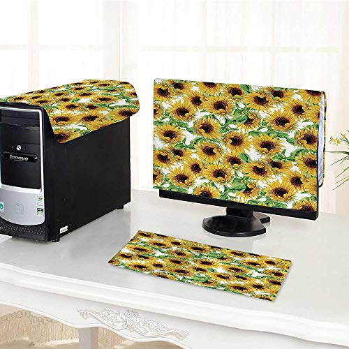 Wild Sunflower Collection (Auraisehome Flat Screen Protector 3 Pieces Collection Dried Sunflowers Illustration Wildflowers Branch Herbarium Artistic Design Fine Anti-Static Vinyl /29