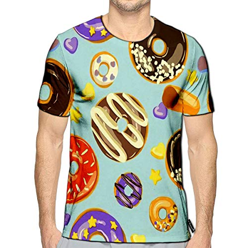 T-Shirt 3D Printed Glazed Donuts Bakery Top View Doughnuts Into Glaze Food Carto (Best Foods To Fight Wrinkles)