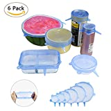 NEWSTYLE Silicone Lids, 6Pcs Silicone Bowl Covers Reusable Blue Stretch Lids, Stretchable Food