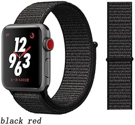 JWJY ユニバーサル・ウォッチバンド44ミリメートル40ミリメートル42ミリメートル38ミリメートルのナイロンブレスレット時計バンド44/42 (Band Color : Black red, Band Width : 42mm or 44mm)
