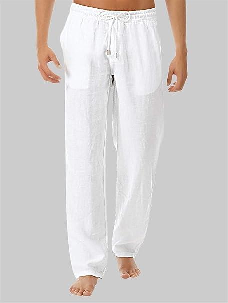 Yamyannie Pantalones para Hombre For Hombre De Algodón Suelta Pantalones Pijamas Cómodo Fino (Color : White, Size : XXL): Amazon.es: Hogar