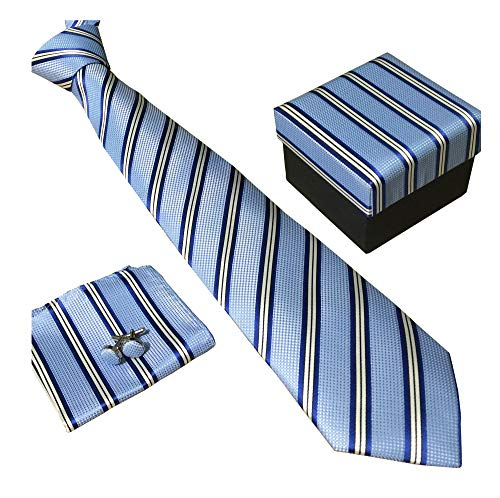 Blue Diagonal Stripes Necktie - Secdtie Men's SILK Tie Set: Necktie+Hanky+Cufflinks,Dark Blue Stripe Necktie