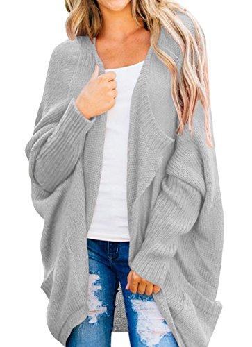 Shawhuwa Womens Loose Dolman Sleeve Open Front Knit Cardigan Sweater S Grey