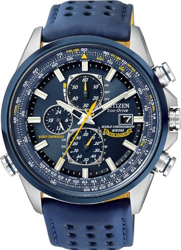 Citizen #AT8020-03L Men's Eco Drive Blue Angels Leather B...