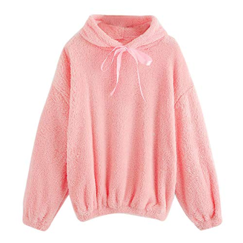 Beige Stripes Snap (Clearance Womens Plush Hooded,Cenglings Fashion Long Sleeve Puff Sleeve Round Neck Sweatshirt Blouse Tops)