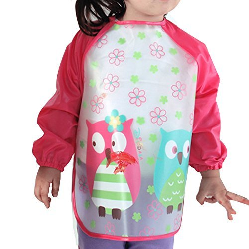 Holly Store Children Kids Waterproof Long-sleeved Smock Apron Bib for Eating and Painting Red Owl