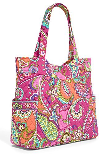 Vera Bradley Womens Pleated Tote Pink Swirls Tote