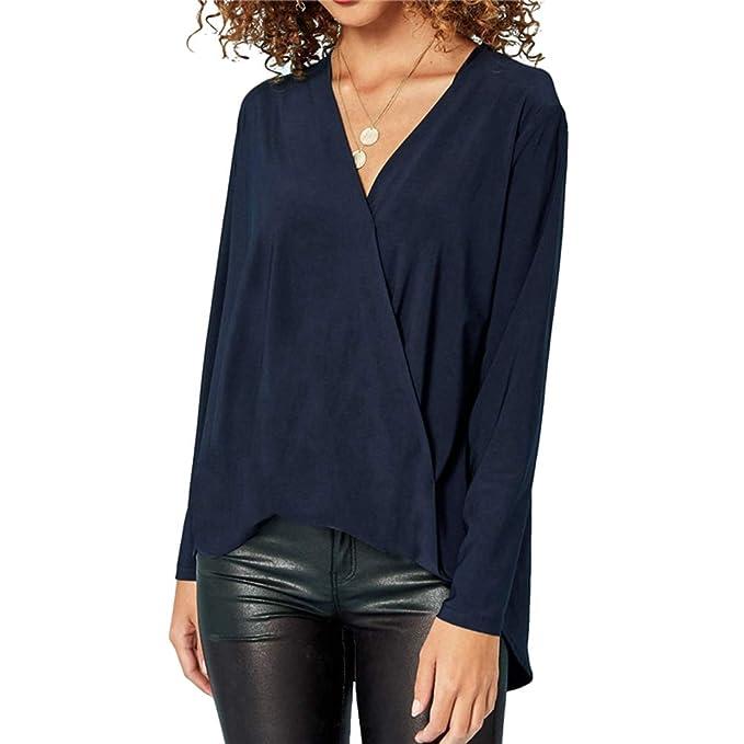 Yujeet Mujer Moda Gasa Cuello en V Mangas Largas Camisas Otoño Elegante  Color Sólido Blusa Tops a035254226a6