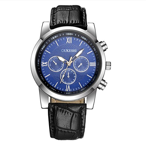 - Balakie Men's Quartz Watch Date, Luxury Stainless Steel Analog Wrist Watch Leather Army Watches (Black band blue face, alloy)