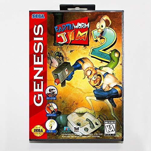 - 16 bit Sega MD game Cartridge with Retail box - Earthworm Jim 2 II game card for Megadrive Genesis system