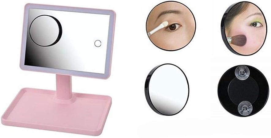 WERTDERTO Espejo de Maquillaje Creative Smart Beauty Portable Vanity Mirror LED Iluminado Carga Lámpara de Escritorio Sobremesa Grande Rosa USB Luz Tricolor (Color : Pink): Amazon.es: Hogar