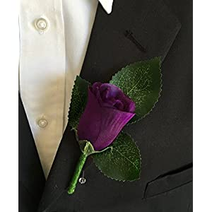 Boutonniere - Purple Rose Boutonniere with Pin for Prom, Party, Wedding 32