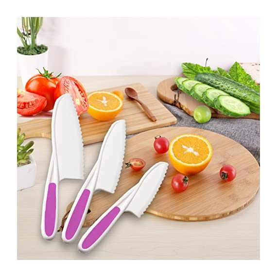 Home Servz Lettuce Knife Set - Serrated Nylon Plastic Knife - Children's Cooking Salad Knives - Kids Safe Use 5 THE HIGHEST QUALITY THAT YOU DESERVE: When comes to food premium quality is a must- that's why we offer you an amazing set constructed by the finest materials.All of our Lettuce Knife materIal are made from 100% Food Grade safe, BPA Free, which odorless. and non-toxic. What is more, all of our products carry a FDA and LFGB certification standards.- Guaranteed to Keep Your Family Safe! THE SET LNCLUDES:11Inch large, Plastic Nylon Lettuce Knife. - 10 Inch medium,Nylon Serrated Knife. - 9 Inch small,Children's Cooking Salad Knives. FUNCTION AND USE : Set of 3,Serrated Edges Safe Lettuce and Salad Knives. - For Precision Cutting.Such as ,Cheese,Bread,vegetable, zucchini, carrots, potatoes, apples,citrus,tomatoes, peaches and sweet potatoes, Be Children's a good helper in kitchen . make Kids to be independent chefs!