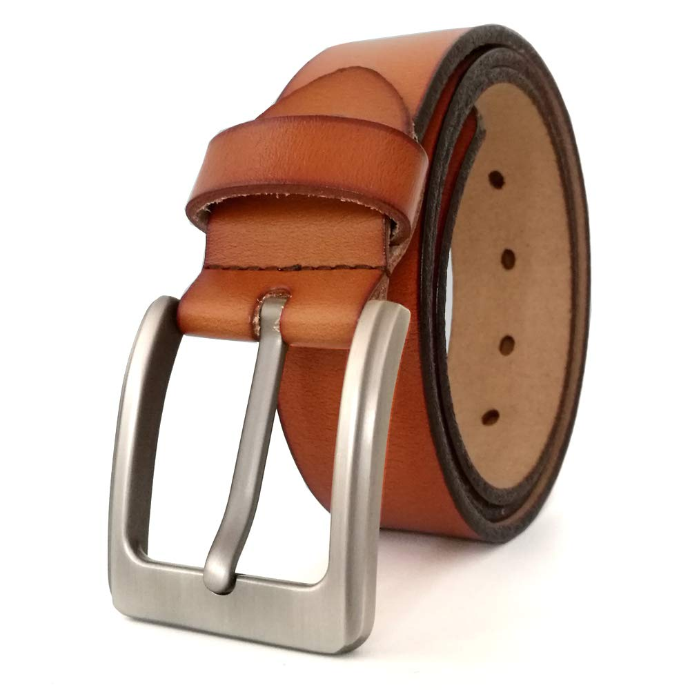 96ed27a3152 JingHao Belts for Men Genuine Leather Casual Belt for Dress Jeans Regular  Big and Tall Black Brown Size 28