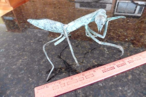 Decorative Copper Toppers Finials (Praying Mantis Copper Art handmade vintage stick topper finial figurine statue)