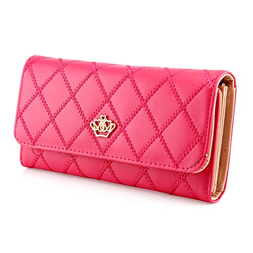 Oct17 Fashion Lady Check Plaid Faux Leather Women Wallet Clutch Long Purse Card Holder Handbag – Hot Pink