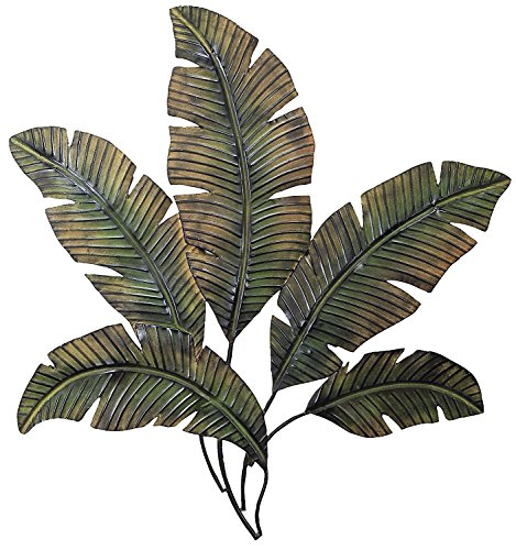 Palm Leaf Wall Sculpture - Ten Waterloo 65531-97920 Palm Leaf Metal Wall Art Sculpture 35 Inches Wide x 34 Inches High, Matte Finish