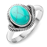 925 Sterling Silver Reconstituted Turquoise Stone Oval Rope Edge Vintage Band Ring Size 6, 7, 8