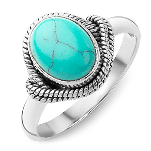 Chuvora 925 Oxidized Sterling Silver Reconstituted Turquoise Stone Oval Rope Edge Vintage Band Ring Size 7 (Sterling Braided Ring Life Silver)