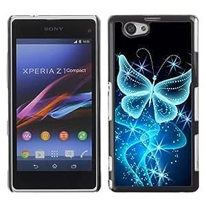 Be Good Phone Accessory // Dura Cáscara cubierta Protectora Caso Carcasa Funda de Protección para Sony Xperia Z1 Compact D5503 // Butterfly Bling Glitter Shiny Diamond