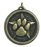 Hammond & Stephens Multi-Level Dovetail/Paw Print Value Medal, 2 in, Solid Die Cast, Gold