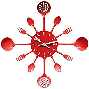Eazzzy Metal Kitchen Cutlery Utensil Wall Clock Spoon Fork Ladel Home Decor (Red)