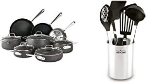All-Clad E785SB64 HA1 Hard Anodized Nonstick Cookware Set, Pots and Pans Set, 13 Piece, Black & K040S564 Scratch & Heat-Resistant Nylon Tools with Stainless Steel Handles and Caddy, 5-Piece