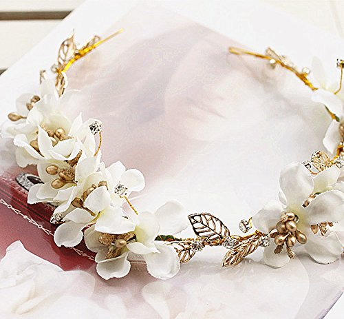Bridal Wedding Headband Hair Clips Beige . Red Flower Leaf Pearl Headbands Hairpiece Accessory for Women Tiara (Beige)