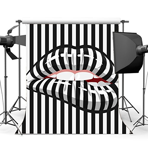Gladbuy 5X7FT Black and White Stripes Backdrop Creative Lips Teeth Wallpaper Vinyl Photography Background for Girls Lover Happy Valentine's Day Party Portraits Photo Studio Props ()