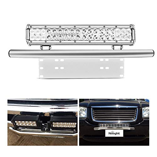 Nilight NI-KIT02 Front Frame License Plate Mounting Bracket Holder for Off-Road LED Work Lamps Lighting Bars,2 Years Warranty