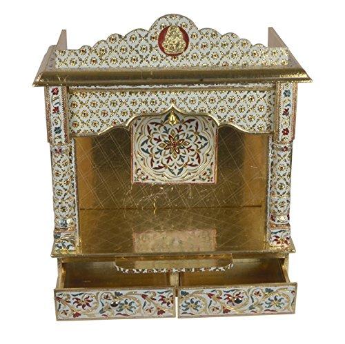 Desi Bazar Meenakari Wooden Pooja Mandir for Home Daily Puja/Aarti/Altar Temple Golden - 25 Inches No Doors