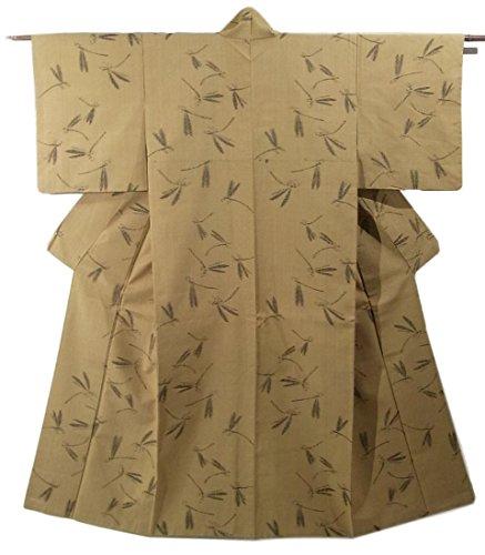 リサイクル 着物 紬 正絹 袷 トンボの模様 裄62.5cm 身丈152cm