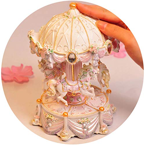 - Pumpkin-Kaariage Creative Gifts Carousel Mini Music Box with Flashing Light Musical Boxes for Princess Love Girl Valentine's Day,White