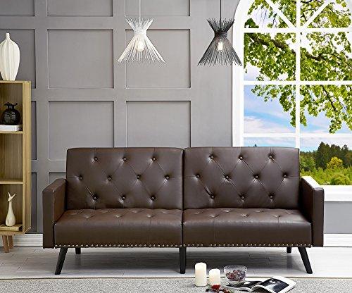 Naomi Home Convertible Tufted Futon Sofa Espresso/Faux Leather
