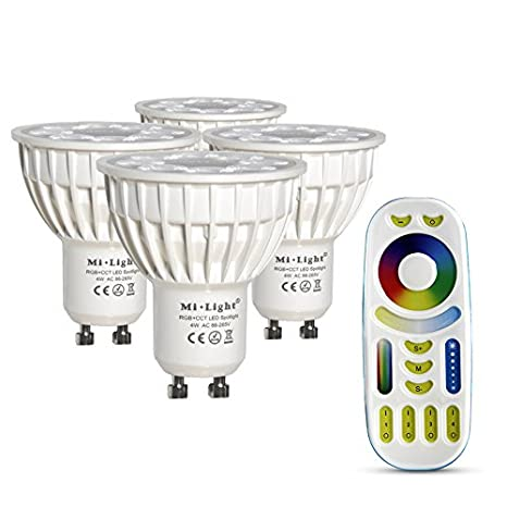 Faretti Led G10.Lighteu 4x 4w Gu10 Rgb Cct Led Spotlight Wifi Led Lamp Rgb Color Original Mi Light 4 Watt Warm White Dimmable With Remote Control Colour Changing