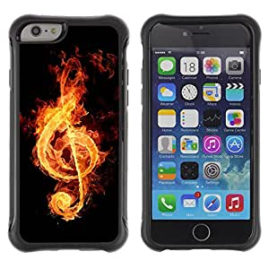Pulsar Defender Series Tpu silicona Carcasa Funda Case para Apple iPhone 6(4.7 inches) , Fire music notation