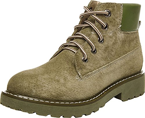 Abby 803-1 Donna Comfort Lavoro Lavoro Flat Cowhells Suola In Pelle Martin Boots In Pelle Verde