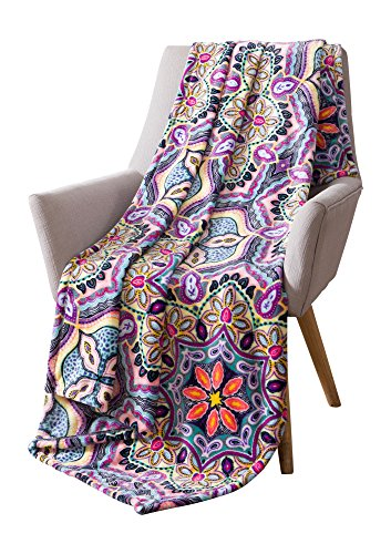 (Boho Velvet Fleece Throw Blanket: Soft Plush Bright Decorative Paisley Patterned Accent for Couch or Bed, Colored: Teal Hot Pink Purple Yellow Black VCNY Yara Bright)
