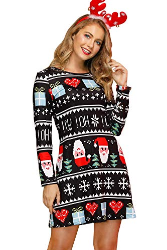 For G and PL Women Christmas Long Sleeve Party Printed Casual Swing Tunic Mini Dress OHOH L (Outfits Cute Day Christmas)