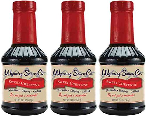 3 Pack: Wyoming Sauce Co Premium Sweet Cheyenne Marinade, Great for Beef BBQ, Steaks, Poultry, Pork, Seafood, Turkey, Fish and More, Unique Gourmet Marinades Taste, Three Bottles of Sauce
