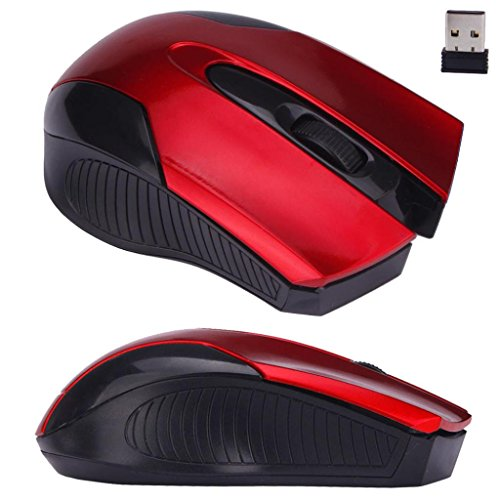 Price comparison product image Voberry® 2.4Ghz Wireless Mobile Optical Mouse with USB Wireless Receiver For Laptop PC (Red)