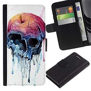 Be-Star la tarjeta de Crédito Slots PU Funda de cuero Monedero caso cubierta de piel Sony Xperia Z3 Compact ( Apple Watercolor Skull Art Death )