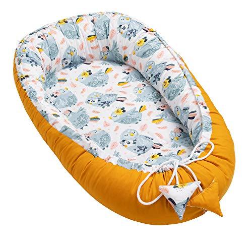 Solvera_Ltd Babynest nestje voor pasgeborenen, 2 zijden, 100% katoen, zacht en veilig reisbed met plat ligvlak (50 x 90…