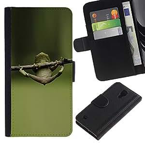 SAMSUNG Galaxy S4 IV / i9500 / SGH-i337 Modelo colorido cuero carpeta tirón caso cubierta piel Holster Funda protección - Muscles Training Motivation Frog